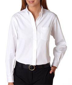 Van Heusen V0110 - Ladies' Long-Sleeve Blended Pinpoint Oxford #vanheusen #oxfordshirt #corporateevents