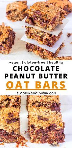 Chocolate Peanut Butter Oat Bars #vegandessert #glutenfree #peanutbutter