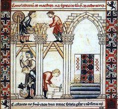 Construcción de la nave de la iglesia de Santa María de Castrojeriz. Cantigas de Santa María, núm. 266. Florencia, Biblioteca Nazionale Centrale,MS.BR-20, fol.84. s.XIII