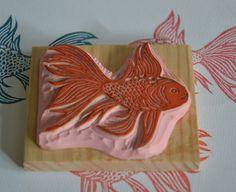 Golden fish handcarved stamp