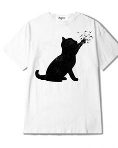 Black birds cat t shirt for girls creative animal tops white