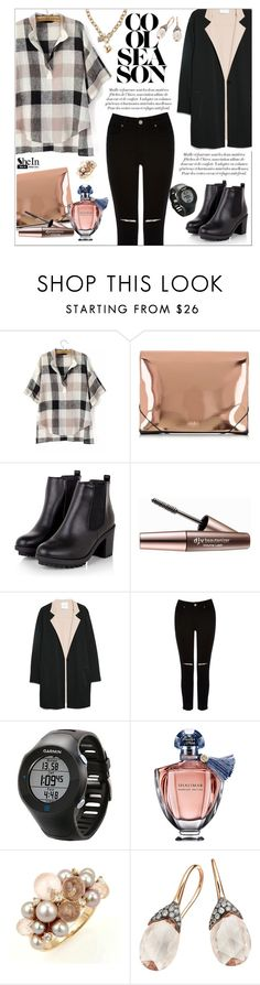 """SHEINSIDE: BLACK V NECK BLOUSE!"" by ceci-alva ❤ liked on Polyvore featuring MM6 Maison Margiela, Imju Fiberwig, MANGO, Oasis, Garmin, Guerlain, Mimí, Astley Clarke and GUESS"