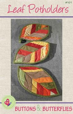 Quilted Leaf Potholders by ButtonsButterfl | Quilting Pattern