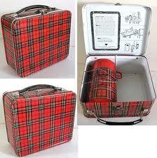 Tartan plaid metal lunchbox with thermos.