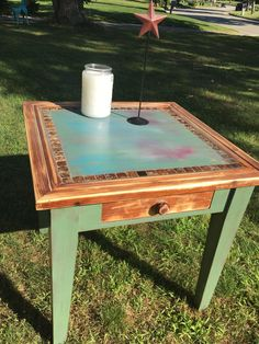3 Legged Rustic Wooden Accent Table with Colonial Blue Distressed