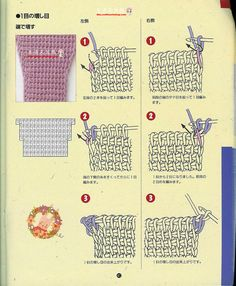 Tunisian crochet (Japanese w/ diagrams): how to increase/decrease, sew together, make buttonholes, and read symbols.