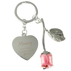 Personalised Silver Pink Rose Keyring - Swirls & Hearts Design - Engraving Any Message - Keyring Gifts - Keychain Gifts - Gifts For Mom Gifts For Mum, Gifts For Husband, Fathers Day Gifts, Personalised Gifts For Him, Personalized Jewelry, Heart Keyring, Boyfriend Gifts, Swirls, Rose
