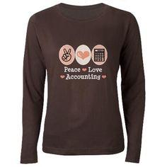 Peace Love Accounting Accountant Women's Long Slee