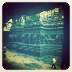 Ellora caves. Giagantic Rocks shaped into art.