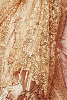 Ivory Lace over Pink Satin ....