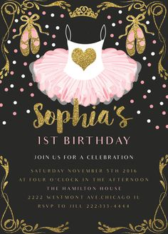 Pink Ballerina birthday invitation, glitter and gold birthday invitation - Pink Nerd Printables
