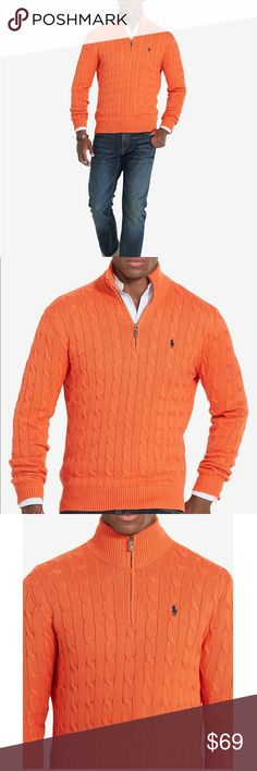 NWT Small orange Ralph Lauren mock neck sweater Men's cotton Cable-Knit mock neck sweater.  Reasonable offers always welcome, no trades please. Polo by Ralph Lauren Sweaters