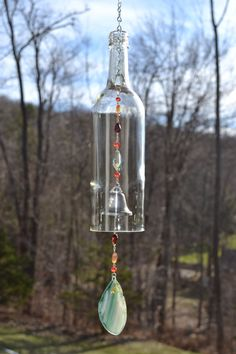 Wine Bottle Wind Chime Recycled Bottle Chime by WhiteRoosterShoppe