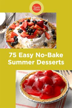 Too hot to turn on the oven? No problem! These easy summer desserts are ready in a flash and don't even need to be baked! So keep cool and reward yourself with these no-bake recipes. No Bake Summer Desserts, Baking Recipes, Dessert Recipes, Taste Of Home, Fruit Salad, Oven, Island, Hot, Cooking Recipes