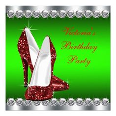 Ruby Red and Green Christmas Birthday Party Custom Invitations