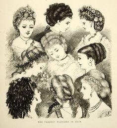 1870 Wood Engraving Art Victorian Era Womens Hairstyles Fashion Portrait YTG1