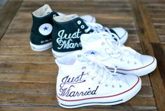 "This pair of custom wedding Converse shoes says ""Just Married"" in elegant black cursive font on the right shoe. The left shoe says ""to a Man with a Capital M."" The words were painted with water proof permanent acrylic paints that look great and will not chip, fade or wash off. We can discuss custom colors that are in your wedding to make these shoes match on your perfect day. The shoes pictured here are Converse Hi Top Chuck Taylors. Various sizes available. White Canvas. One-piece mixed…"