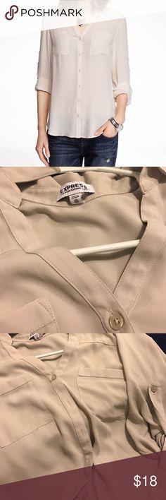 Express portofino shirt Like new express portofino shirt - off white Express Tops