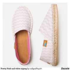 Pretty Pink and white zigzag Espadrilles