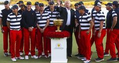 US President Donald J. Trump poses with the US team during the presentation of the Presidents Cup. Photograph: PA
