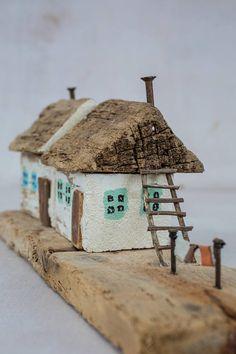 house miniature wood house little house driftwood art
