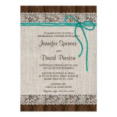 Rustic Burlap And Lace Rehearsal Dinner Invitation