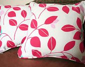 "Pair of leaf print 16"" cushion covers"