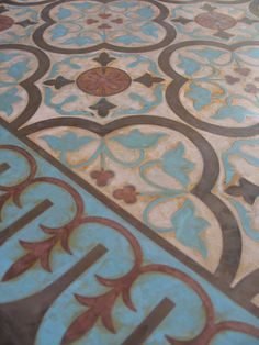 Using Modello® Designs Masking Stencils and Skimstone to create a fabulous concrete floor for courtyard. Stenciled Concrete Floor, Painted Concrete Floors, Painting Concrete, Stained Concrete, Concrete Pad, Floor Cloth, Floor Rugs, Floor Ceiling, Painting Patterns