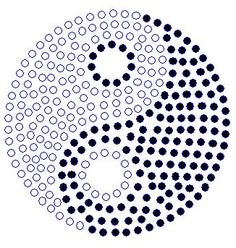Yin-Yang; A rhinestone transfer pattern to create a taijitsu on clothing, with a slightly larger, off-centered dot in the yin element.