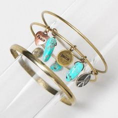 Turquoise and Gold Stone Bangles