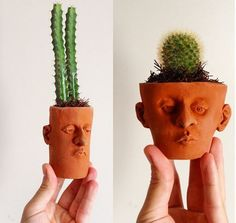 These designs and fun and quirky and add a unique flare to the home. Faces illustrated on a plant pot for the cactus plant to sit in. Add a bit of personality to your interiors Diy Clay, Clay Crafts, Ceramic Clay, Ceramic Pottery, Indoor Cactus Plants, Cactus Plant Pots, Garden Plants, Pottery Designs, Clay Pots