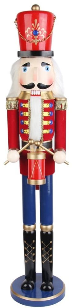 Hand Painted and Carved Red Drummer Soldier Nutcracker Figurine 36 Inches Tall #ChristmasNutcracker #Handpainted #Carved #RedDrummer #Soldier #Nutcracker #Figurine #Christmas #ChristmasDecor #Holiday #Seasonal #HomeDecor #HolidayDecor