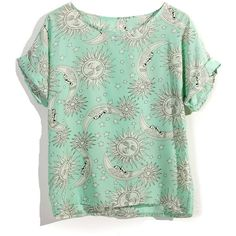 Tatoo Print T-shirt in Mint / Yellow (120 BRL) ❤ liked on Polyvore featuring tops, t-shirts, shirts, tees, roll sleeve shirt, mint green top, pattern t shirts, pattern shirts and print t shirts