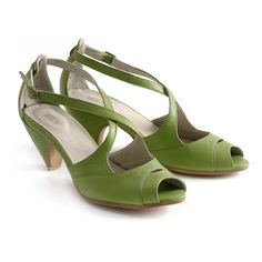 Modern but Retro repro! apple green Leather sandals High heels shoes by MYKAshop on Etsy handmade
