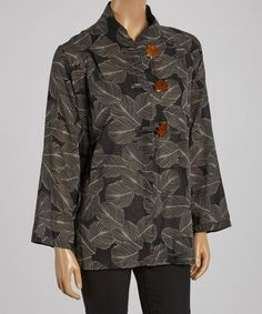 Another great find on #zulily! Black Leaves Mandarin Collar Jacket - Women by Cupcake International #zulilyfinds