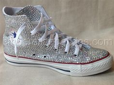 White Chuck Taylor High Top Crystal Rhinestone Converse - Bridal Prom Romany | Clothes, Shoes & Accessories, Women's Shoes, Trainers | eBay!