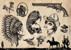 Traditional Sailor Tattoos, Traditional Tattoo Skull, Traditional Tattoo Drawings, Cowgirl Tattoos, Western Tattoos, Native Tattoos, Nautical Tattoos, Tattoo Old School, Old School Tattoo Designs