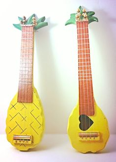 These ukuleles are hand-crafted using a vintage, pineapple bowl made from Monkey Pod wood as the body and headstock of the instrument. Pineapple Ukulele, Pineapple Pictures, Pineapple Bowl, Monkey Pod Wood, Heart Pictures, Ukulele Chords, Best Fruits, Tropical, Kids Corner