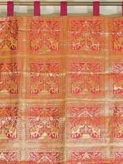 Home Decoration Indian Curtain Panel Elegant Gold Elephant Peacock Patterned