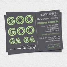 Baby Shower Invitation Printable, Green and Charcoal Grey Gender Neutral Goo Goo Ga Ga Baby Talk, DIY Digital File