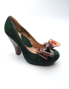 2fd78b2eb88d5 Suede Mid-Heel Pump with Tortoiseshell Bow in Green