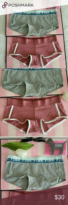 LAST 2 Nwt Pink Vs Logo Boyshort Size S Very soft and comfy perfect for lounging.  Brand new with tags. Smoke and pet free.  Fast shipping + extra gift.  I don't trade love.  Available  Feel free to bundle with extra discount and extra gift.  Happy Poshing :) PINK Victoria's Secret Intimates & Sleepwear Panties