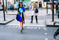 Street Style: London Fashion Week Fall 2015 – Vogue Leigh Lezark in Peter Pilotto and Prada shoes