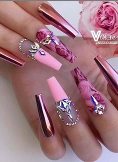 Cute Acrylic Nail Designs, Best Acrylic Nails, Nail Art Designs, Nails Design, Glam Nails, Bling Nails, Gorgeous Nails, Pretty Nails, Cow Nails