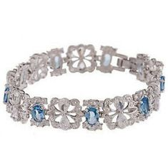 Jackie Kennedy Crystal Bracelet with Blue Stones Box and