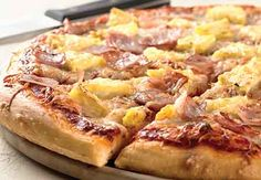 Hawaiian Pizza: King Arthur Flour, my favorite, but I like using canadian bacon instead of ham and adding jalapenos to it! King Arthur Pizza Dough Recipe, Best Pizza Dough Recipe, Pizza King, Flatbread Recipes, Pizza Recipes, Baking Recipes, Flour Recipes, Sandwiches, Pineapple Pizza