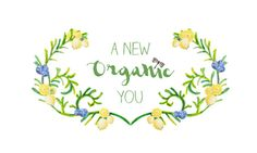 A New Organic You logo design for a health coach (hand painted)