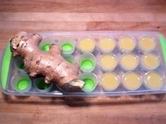 Juice fresh ginger root and freeze in ice cube tray. Add to water, smoothies, or black tea Healthy Juice Recipes, Healthy Juices, Raw Food Recipes, Healthy Drinks, Healthy Eating, Healthy Food, Smoothies, Juice Smoothie, Smoothie Recipes