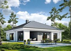 Projekt domu Dostępny D45 wariant I 120,57 m² - koszt budowy - EXTRADOM Modern Bungalow House, Home Fashion, Sweet Home, Mansions, House Styles, Outdoor Decor, Home Decor, Modern Houses, Modern