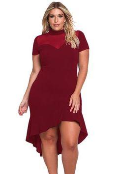 76a585c76d6 Burgundy Mesh Insert Ruffled Hi-Low Dress LAVELIQ Hi Low Dresses